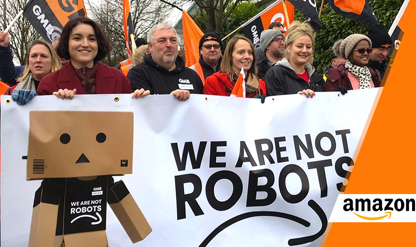 "Amazonians staged a protest on Friday to say ""We're not Robots"""