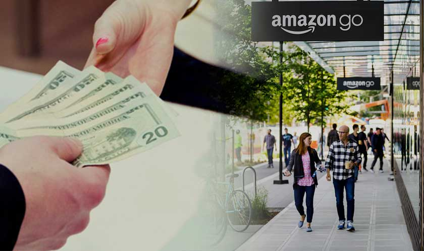 You can pay with cash at Amazon Go stores, maybe later
