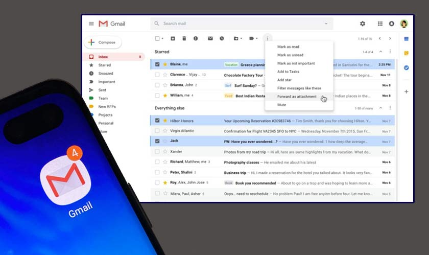 Gmail lets you attach emails to your emails