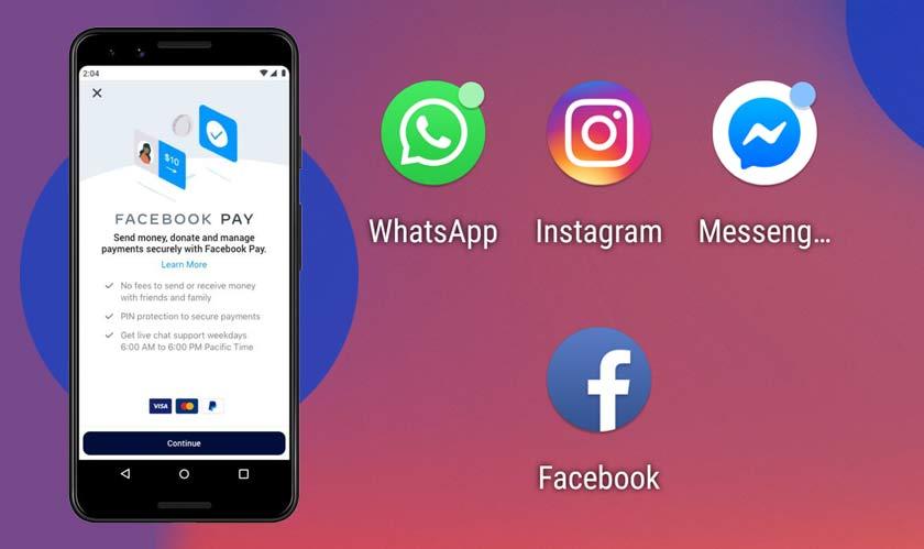 mobile facebook pay messenger whatsapp instagram