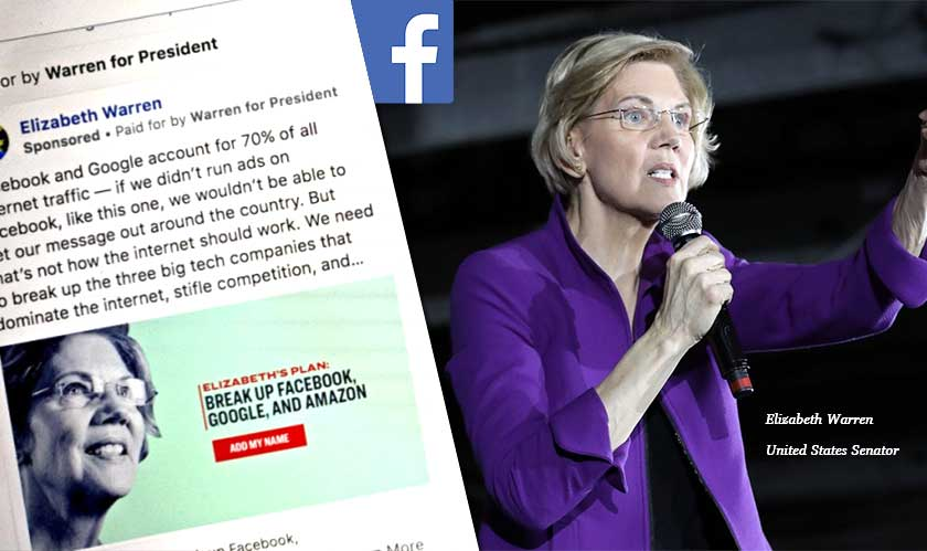 Elizabeth Warren's ads removed on Facebook, restored later