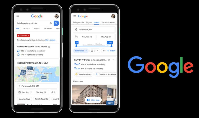 Google adds new functionality to show COVID info on travel searches