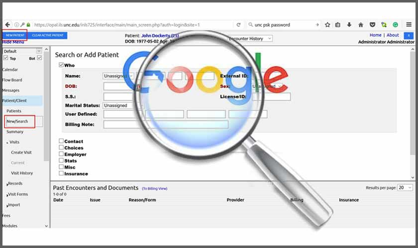 healthcare google patient record search