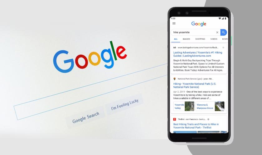 Google search on desktop design adds new website Icons