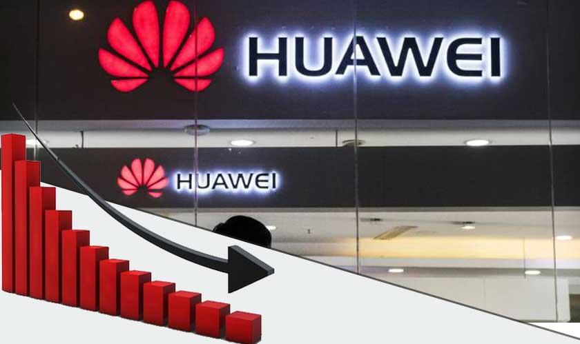 huawei revenue fall