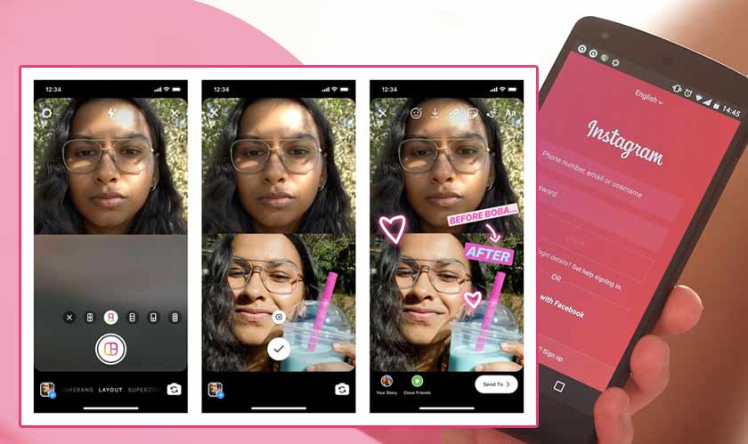 Instagram's layout feature allows multiple photos in one story
