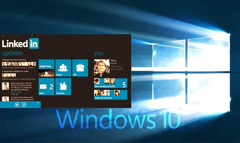 LinkedIn comes as an app in Windows 10