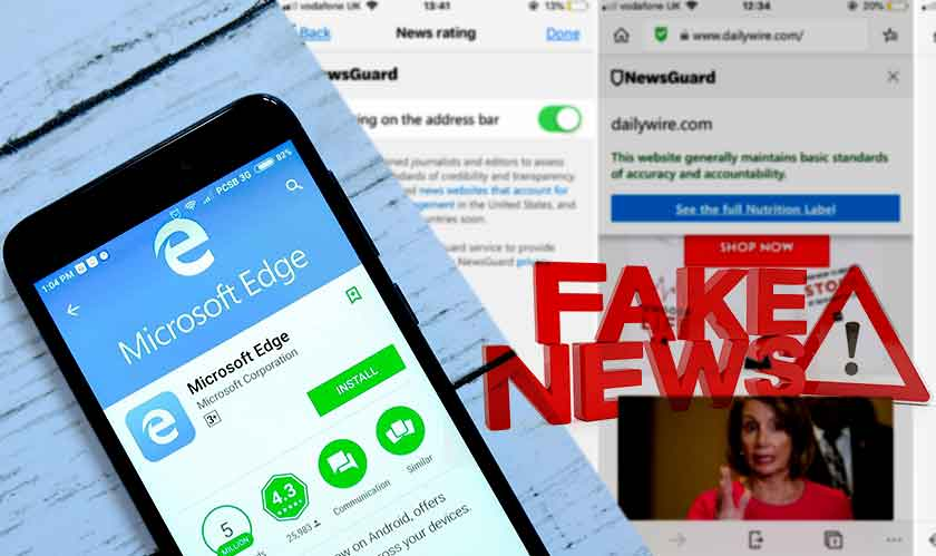 mobile microsoft edge warns about fake news