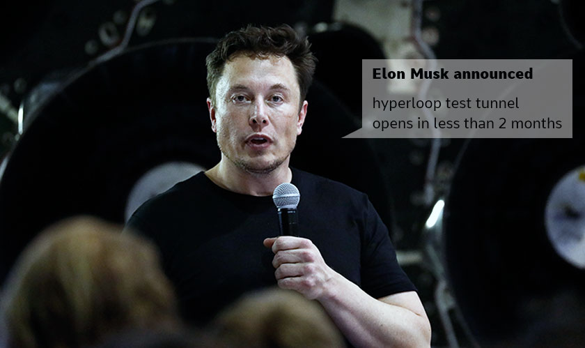musk announces hyperloop tunnel opening