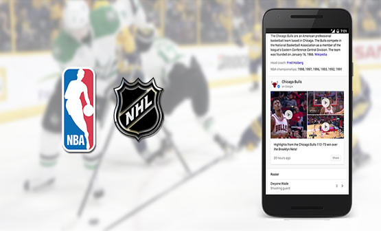 Now, you can find NBA and NHL updates directly through Google search