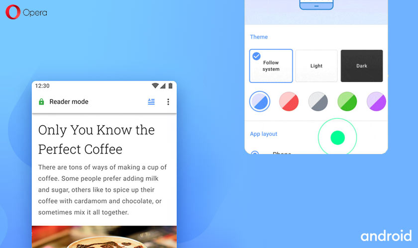 opera56 android reader mode custom action