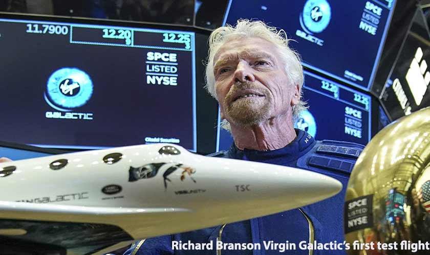 Richard Branson reaches space in Virgin Galactic's first test flight