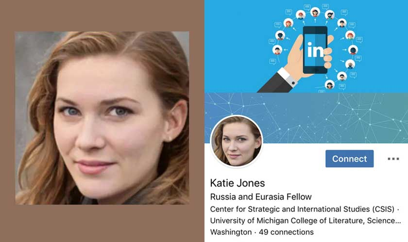 Spy uses AI generated profile picture on LinkedIn for connections