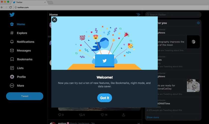 Twitter releases a new desktop design
