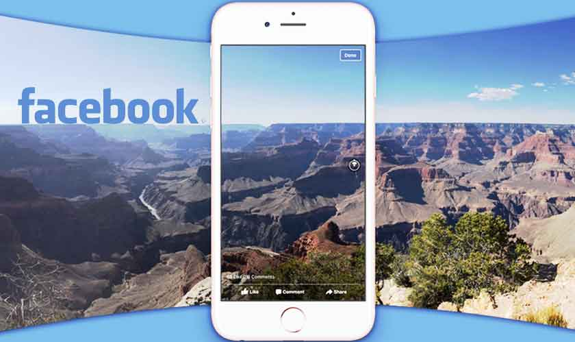 upload a new 360 degree cover photo on facebook using facebook app