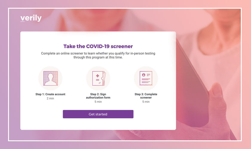 Verily's screening website to conduct test for COVID-19