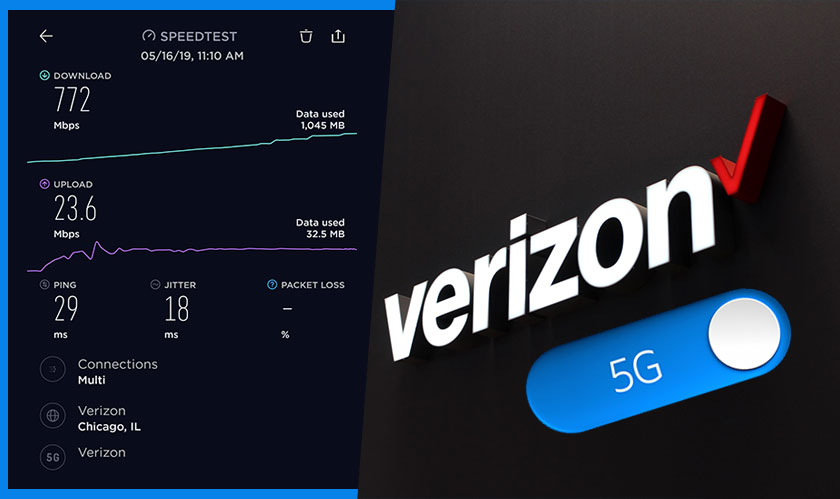 networking verizon  g gigabit download speed